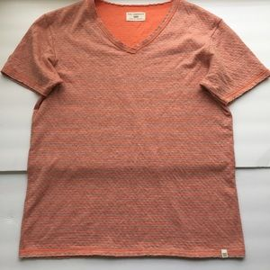 Sol Angeles Orange and Gray Striped V Neck Tee